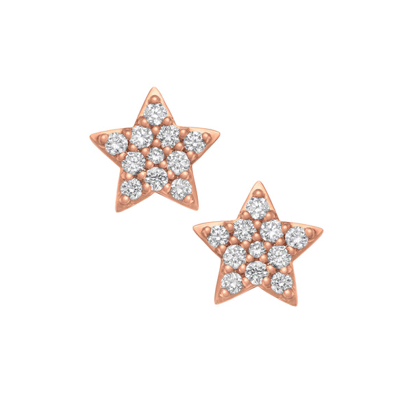 Myer Star Stud Earrings in Rose Gold with Diamonds.