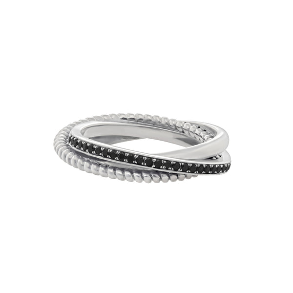 Portia Twisted Ring in White Gold with Black Diamonds and a twisted design.