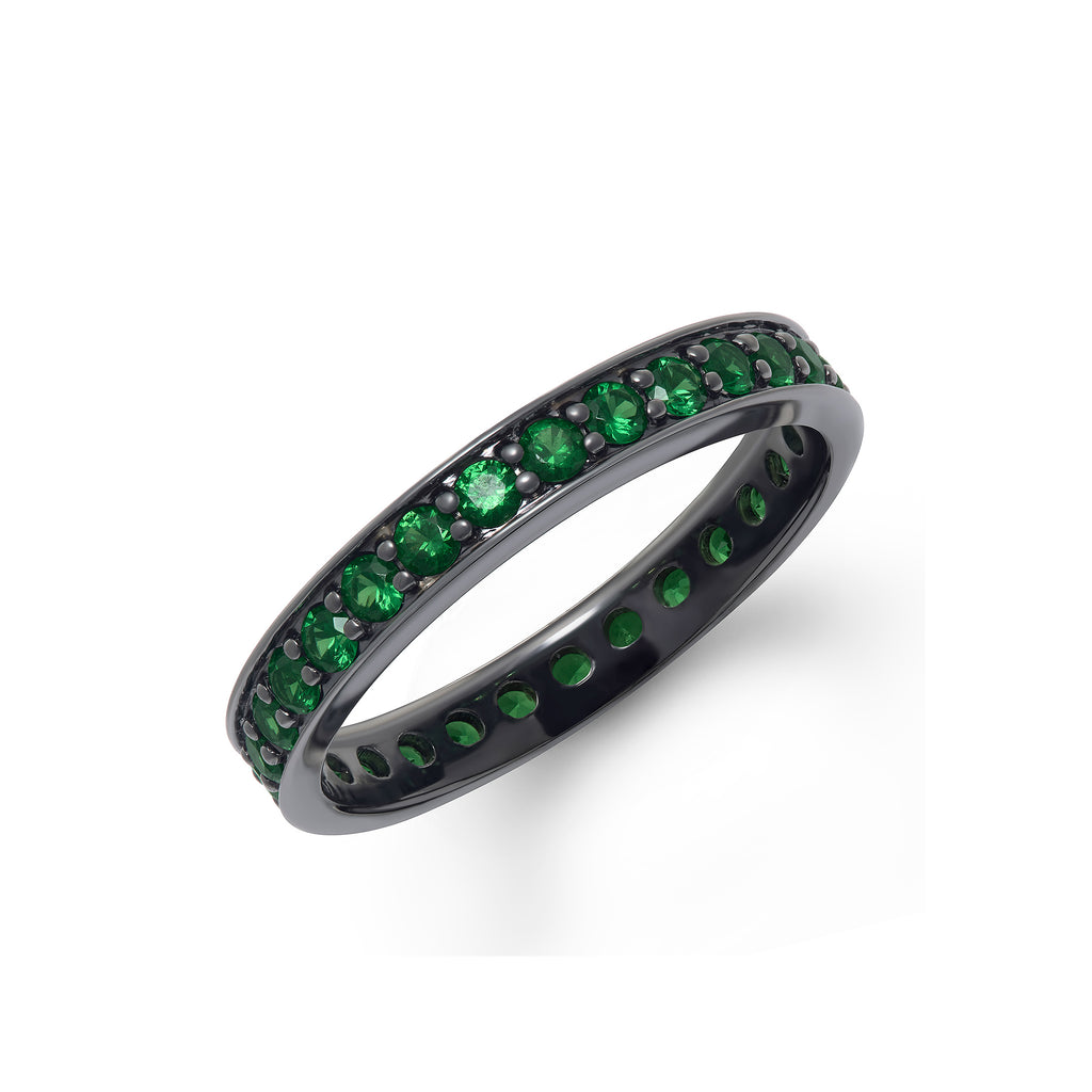 Band Ring in White Gold with Black Rhodium and Tsavorite Gems.