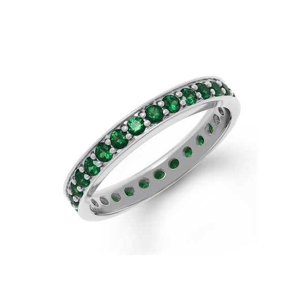 Band Ring in White Gold With Tsavorite Gems.