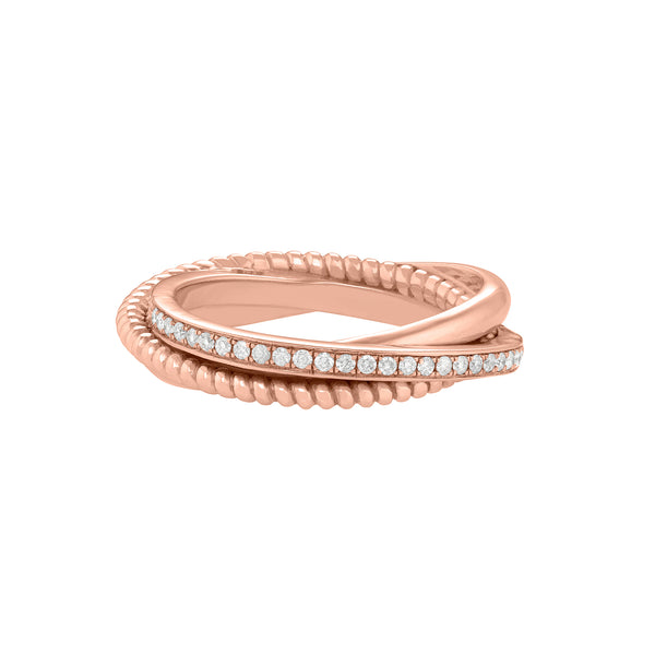 Portia Twisted Ring in Rose Gold with Diamonds and a twisted design.