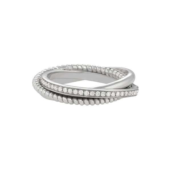 Portia Twisted Ring in White Gold with Diamonds and a twisted design.