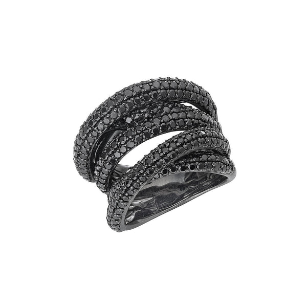 Disco Twisted Ring in Silver with Black Rhodium with Black Spinel.