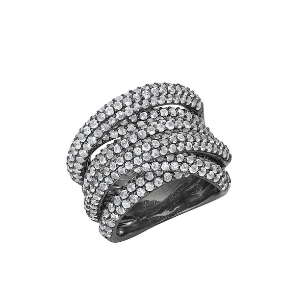 Disco Twisted Ring in Silver with Black Rhodium with White Sapphires.