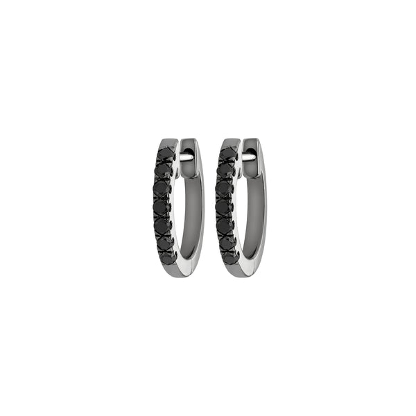 Myer Small Diamond Hoop Earrings in White Gold with Black Rhodium and Black Diamonds.