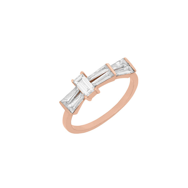 Single Band Ring in Rose Gold With Unique Diamond Cuts.