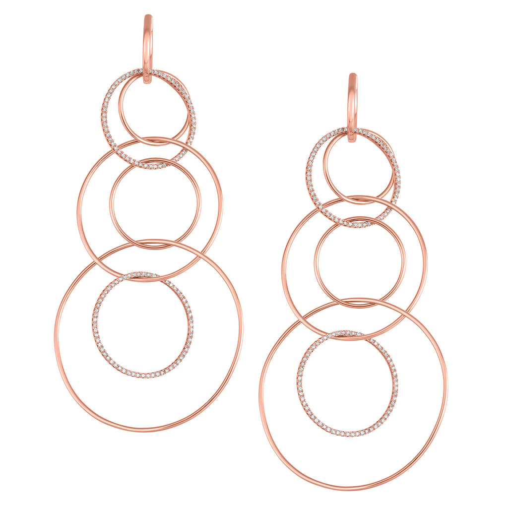 Gabriella Graduated Hoop Earrings in Rose Gold accented with multiple Diamond covered Hoops.