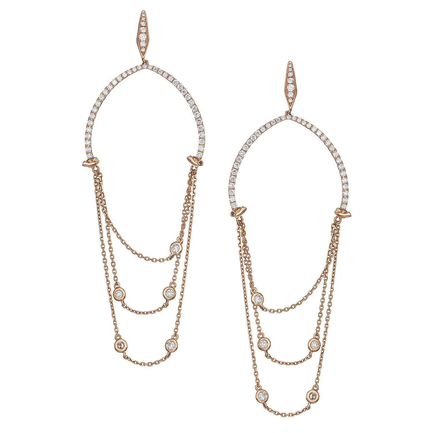 Gia U Shaped Diamond Chain Earrings