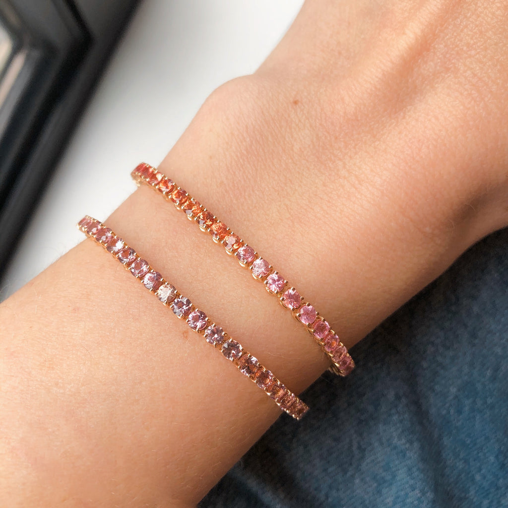 Rose Gold Bracelet covered in Peach and Pink Sapphires.