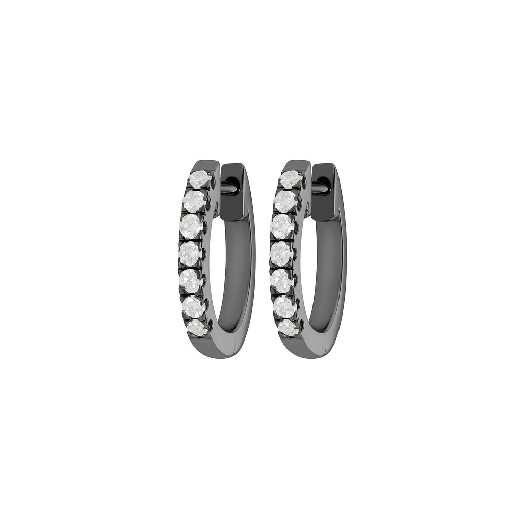 Myer Small Diamond Hoop Earrings in White Gold with Black Rhodium with Diamonds.