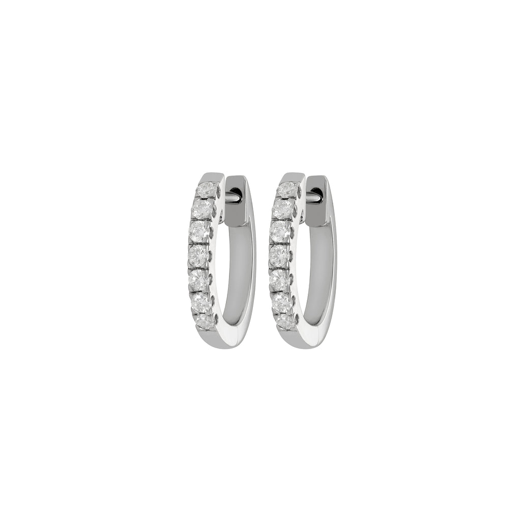 Myer Small Diamond Hoop Earrings in White Gold with Diamonds.