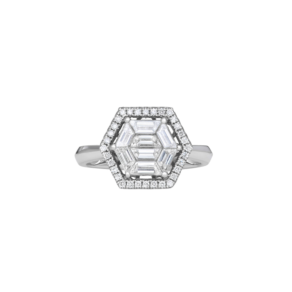 Orin Web Cocktail ring has a Full Cut Diamond and Baguette Diamonds on top of a White Gold Band.