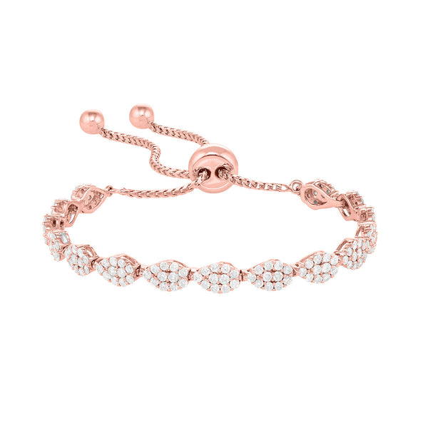 Flexible and Adjustable Tennis Bracelet in Rose Gold with Pear Shaped Diamonds.