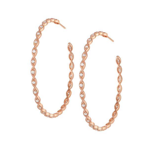 Large Portia Eye Hoops in Rose Gold with Diamonds.