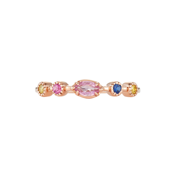 Slim Band Ring in Rose Gold with an assortment of colored Sapphire Gemstones and Diamonds.
