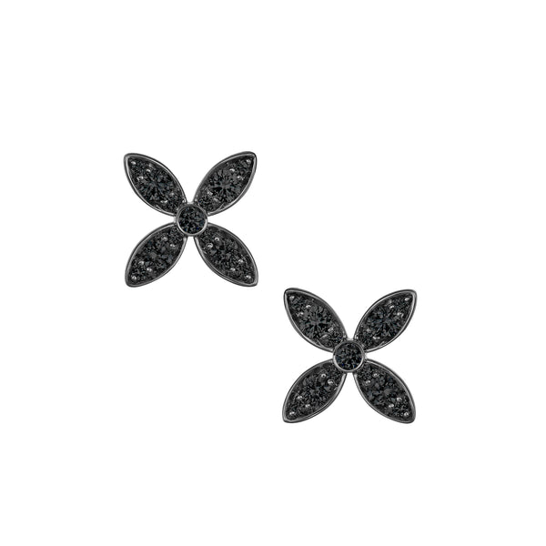 Myer Flower Stud Earrings in White Gold with Black Rhodium and Black Diamonds