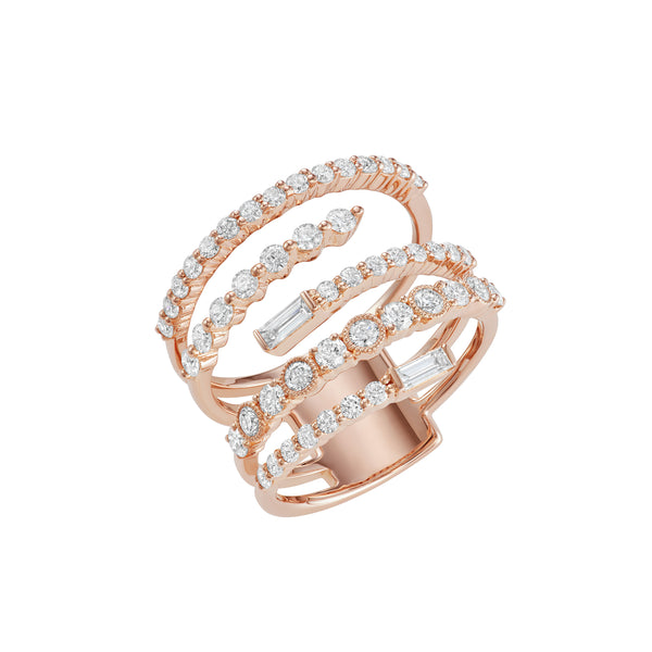 Rose gold ring with five rows covered in diamonds.