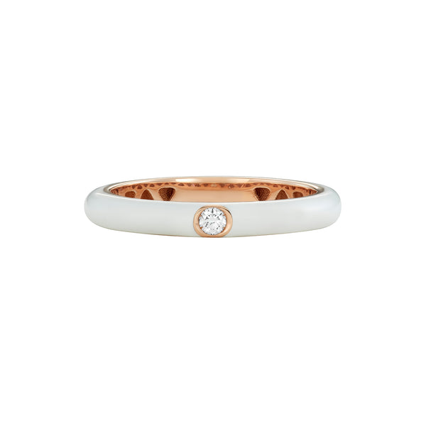 Single Diamond Band Ring in Rose Gold with White Enamel.