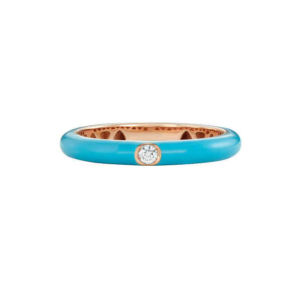 Single Diamond Band Ring in Rose Gold with Turquoise Enamel.