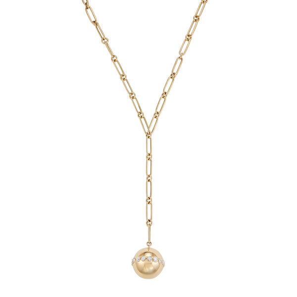 Rose Gold ball necklace encrusted with diamonds on long chain.