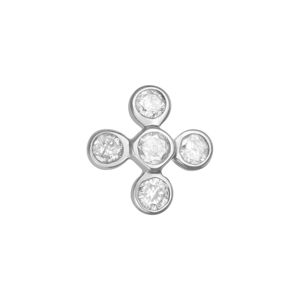 Flower Stud Earring in White Gold with Diamonds.