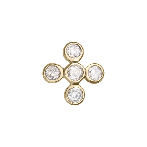 Flower Stud Earring in Yellow Gold with Diamonds.