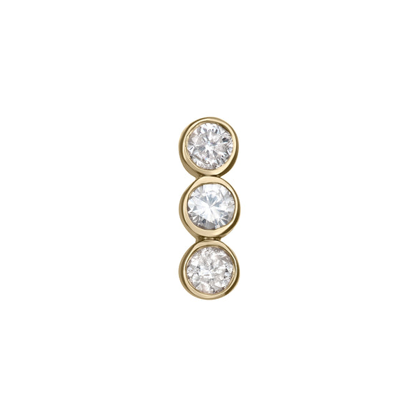 Bar Stud Earring in Yellow Gold with Diamonds.