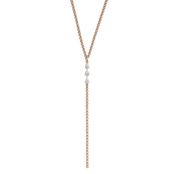 Long Lariat Necklace in Rose Gold with Diamonds.