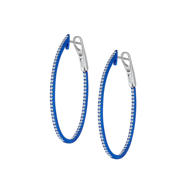 Orin Oval Hoop Earrings in White Gold With Blue Rhodium and Diamonds.