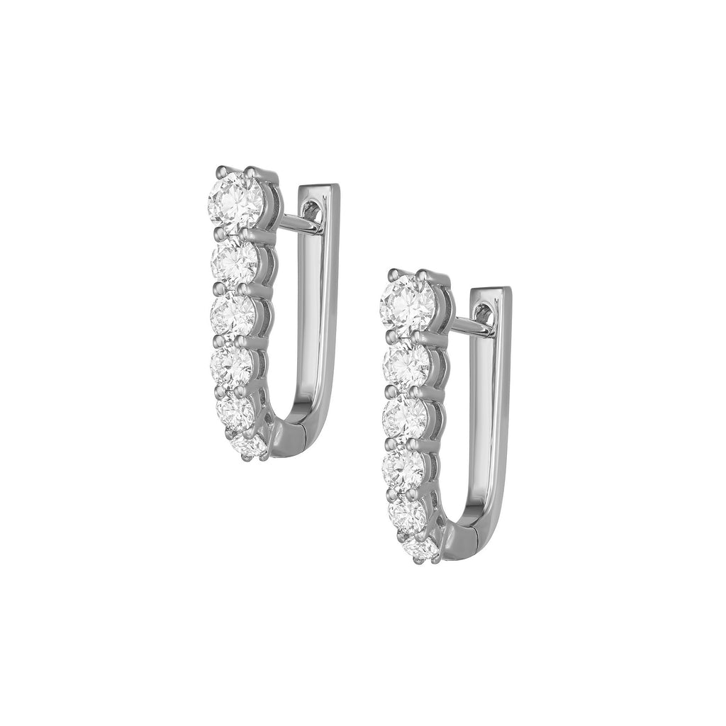 Myer Small U Shape Hoop Earrings in White Gold with Diamonds.