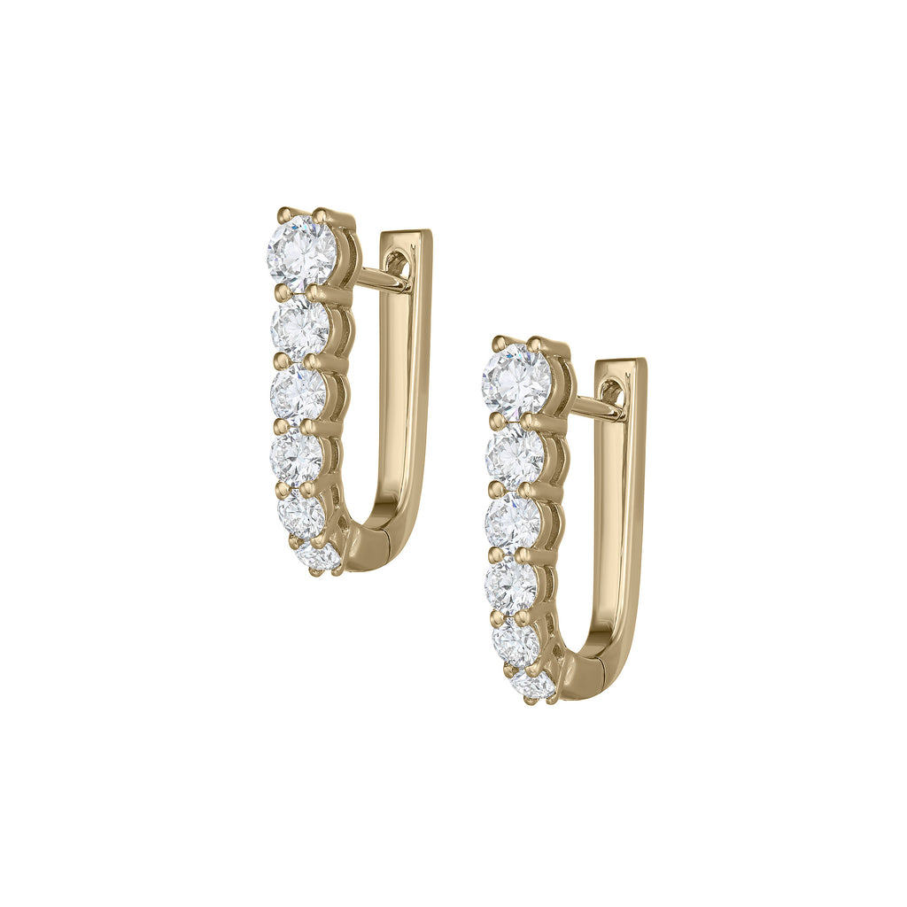 Myer Small U Shape Hoop Earrings in Yellow Gold with Diamonds.