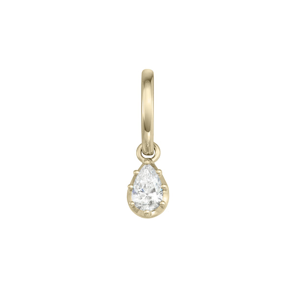 Single Drop Earring in Yellow Gold with a Pear Shaped Diamond.