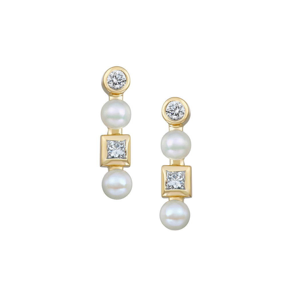 Double Diamond Bar Stud Earrings in Yellow Gold with Diamonds and Pearls.