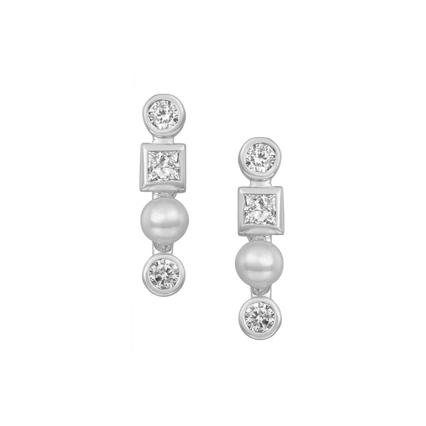 Triple Diamond Bar Stud Earrings in White Gold made with Diamonds and Pearls.