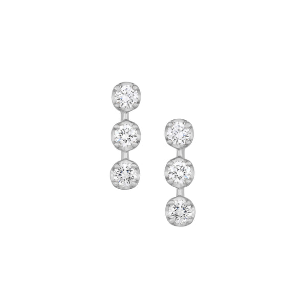 Myer Bar Stud Earrings in White Gold with Diamonds.