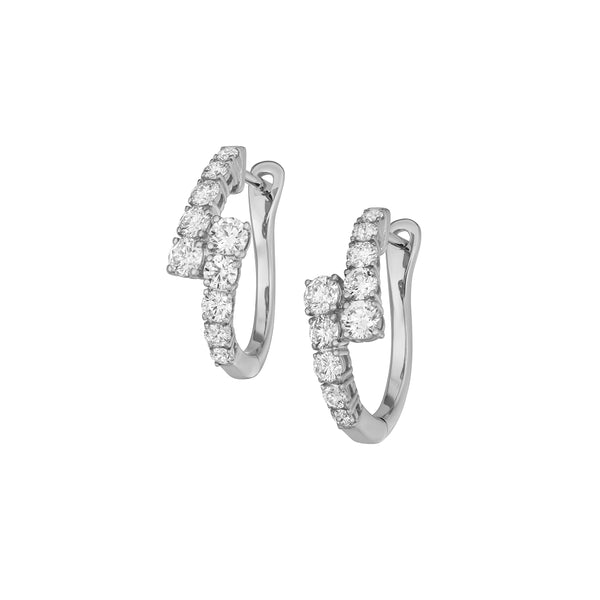 Myer Graduated Hoop Earrings in White Gold with Diamonds.