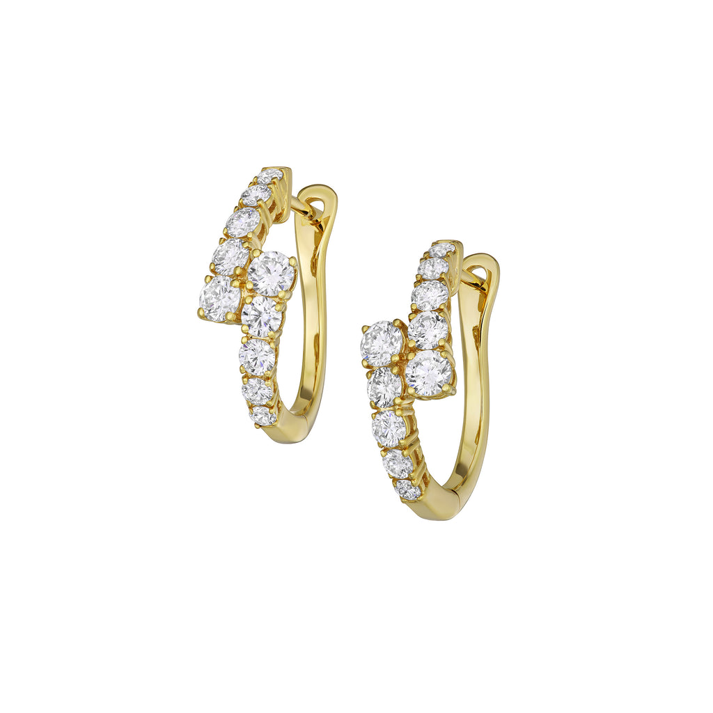 Myer Graduated Hoop Earrings in Yellow Gold with Diamonds.