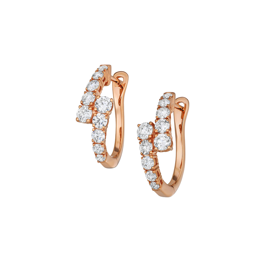 Myer Graduated Hoop Earrings in Rose Gold with Diamonds.