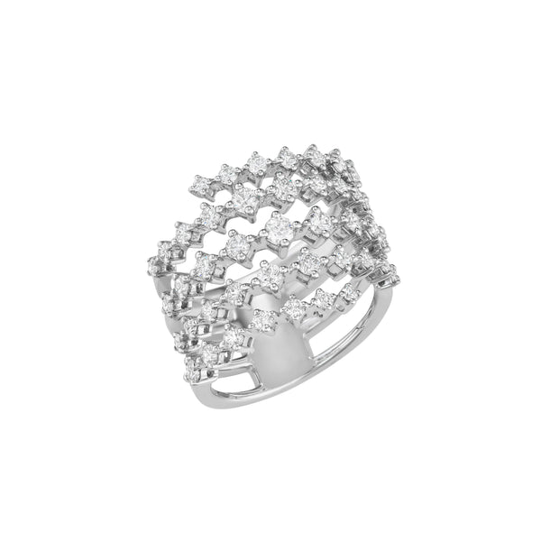White gold ring with five rows accented by diamonds.