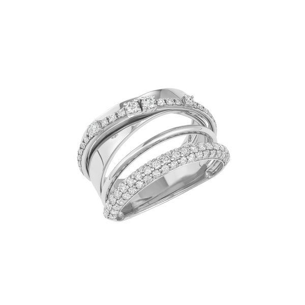 Viv Twisted Ring in White Gold made with Diamonds.