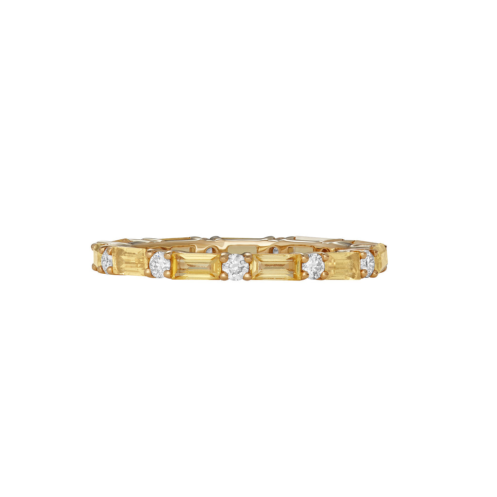 Stackable single yellow gold ring surrounded by yellow sapphires and diamonds around the entire band.
