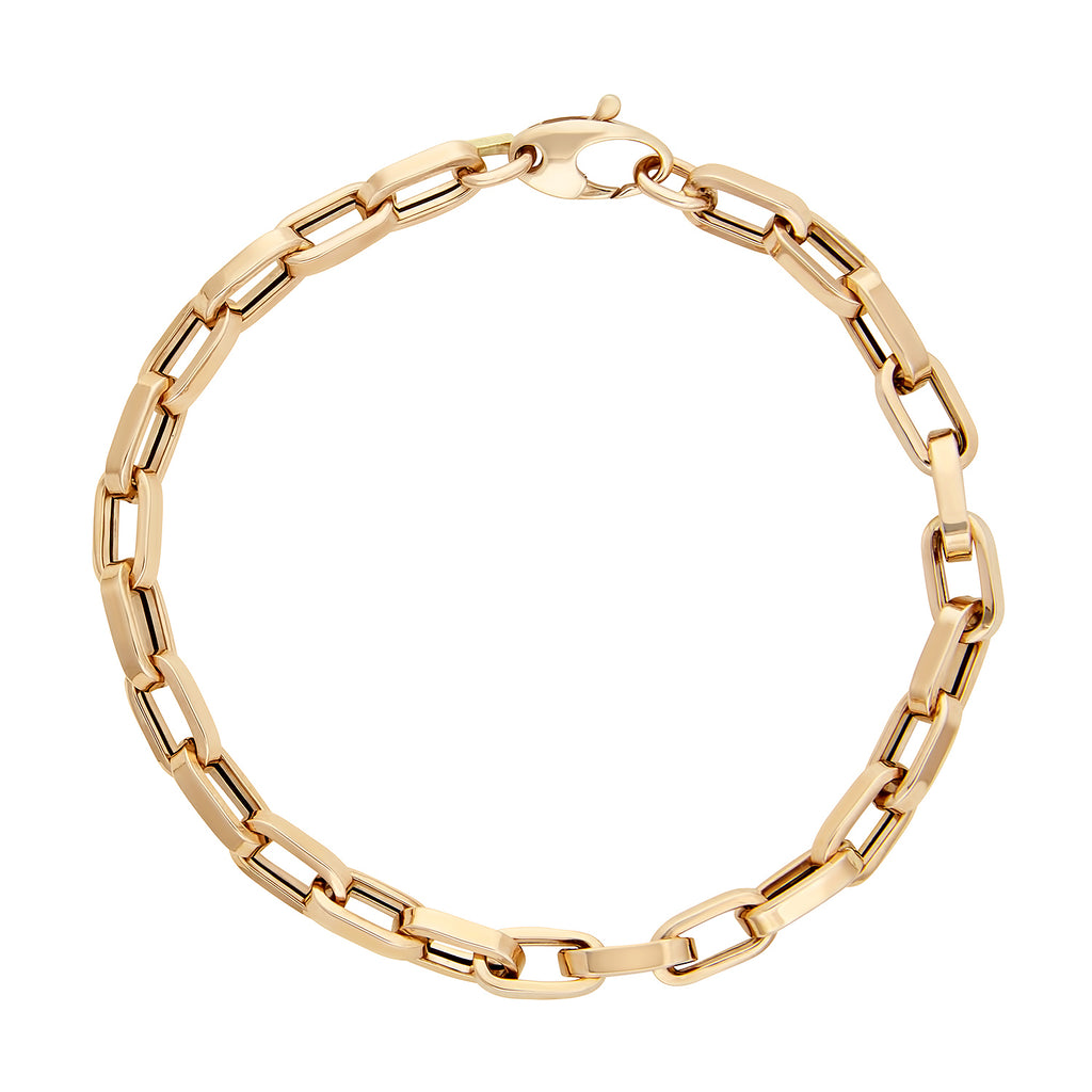Rectangle Link Chain Bracelet in Yellow Gold.