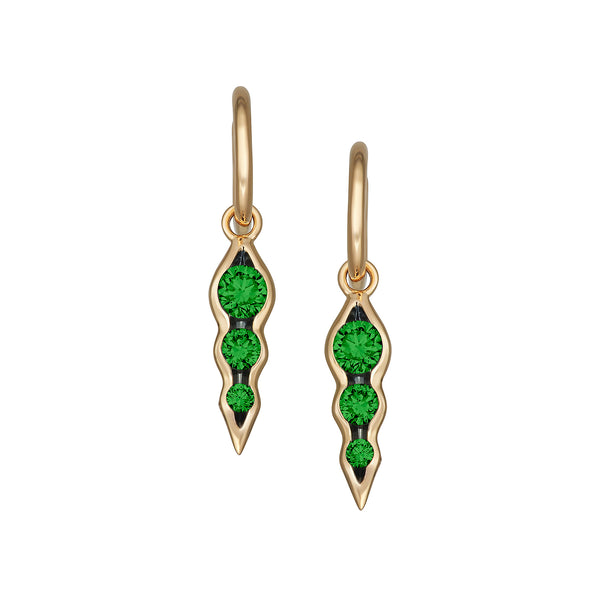 Myer Triple Emerald Earrings in Yellow Gold.