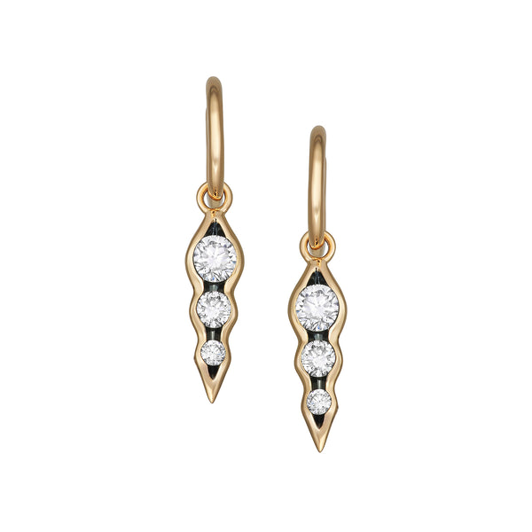 Myer Triple Diamond Drop Hoops