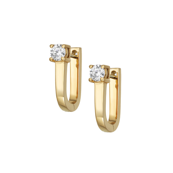 Myer Small U Shape Hoop Earrings in Yellow Gold with a Diamond.