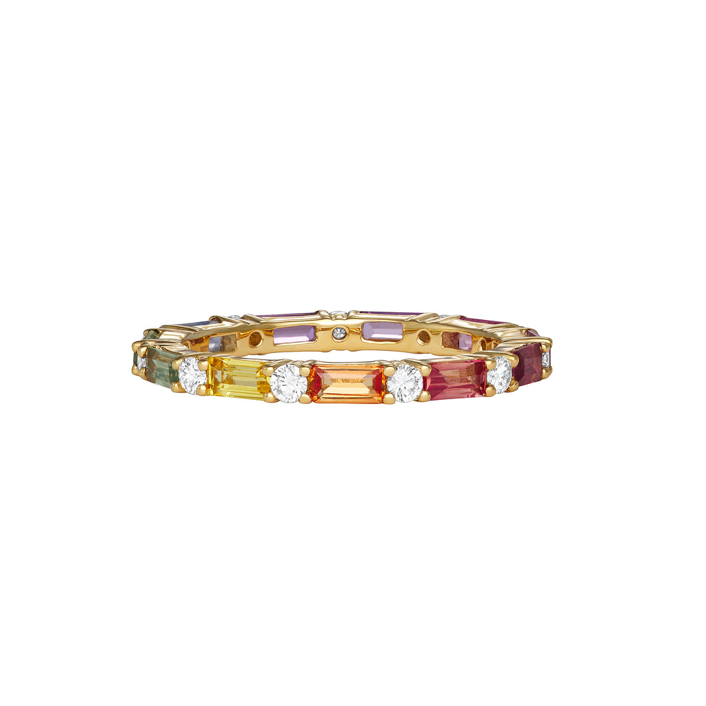 Stackable single yellow gold ring surrounded by assorted colored gemstones and diamonds around the entire band.