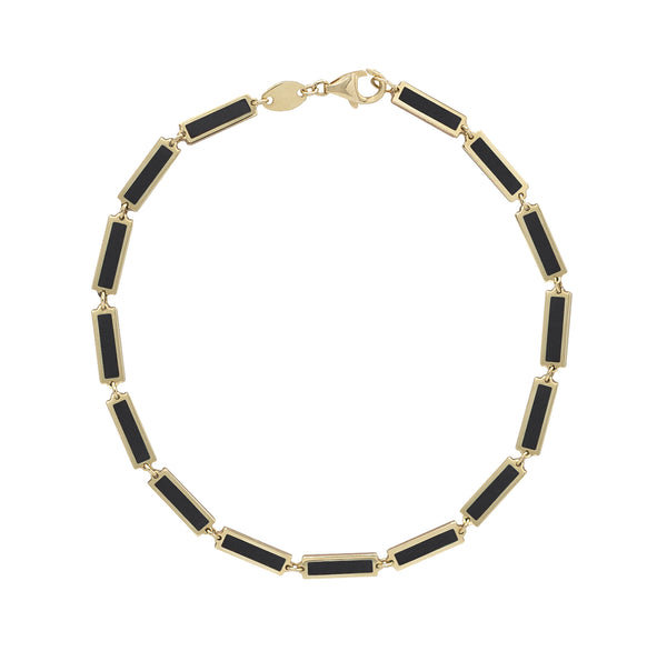 Onyx chain bracelet in Yellow Gold.