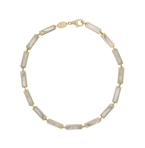 Mother of Pearl chain bracelet in Yellow Gold.