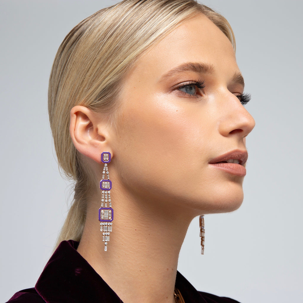Fringe Earrings in Rose Gold with Lavender Enamel and Diamonds