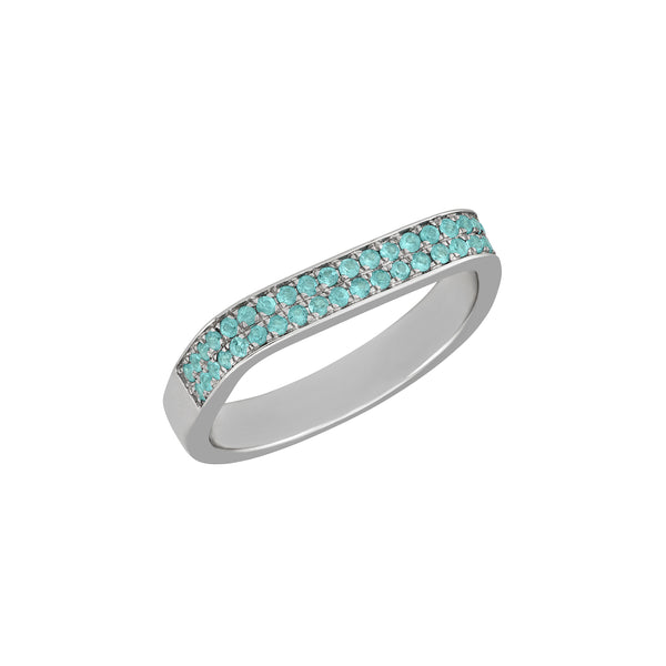Double Square Band Ring in White Gold with Paraiba Tourmaline.